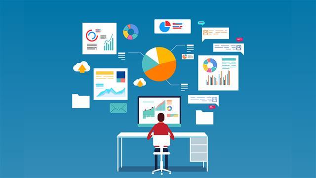 illustration of man on a desk operating laptop